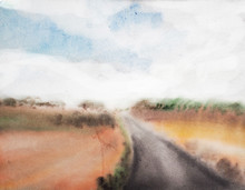 Watercolor Landscape, Watercolor Road, Travel