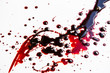 canvas print picture - Splattered blood stain on white background