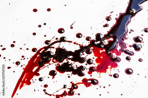 Fotomural  Splattered blood stain on white background