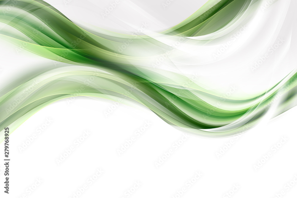 Fototapeta White and green waves background. Abstract design.