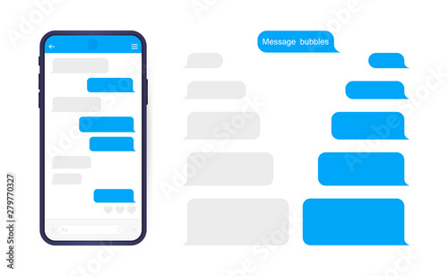 Fototapeta Smart Phone with messenger chat screen. Sms template bubbles for compose dialogues. Modern vector illustration flat style obraz