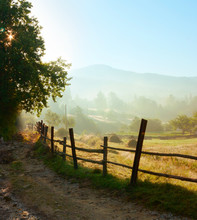 Country Road In The Early Morning In The Carpathians. Tatariv, Ukraine.
