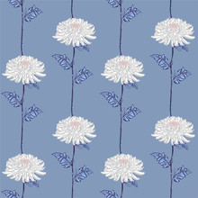 Retro Vector Seamless Floral Pattern. Blooming Pink Japanese White Chrysanthemum Flowers . Illustration In Stripe Vertical Line Design, Textiles, Paper, Wallpaper, Curtains, Blinds. Golden Leaves,
