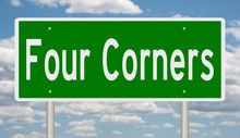 Rendering Of A Green Highway Sign For Four Corners