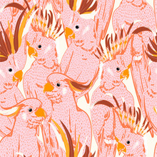 Cute Hand Drawing Doodle White  Sketch Pink Cockatoo Birds Seamless Pattern.  Vector Art Illustration.Design For Fashion ,fabric,web,wallpaper And All Prints