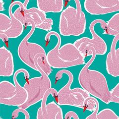 Sweet hand drawn pink swan ...