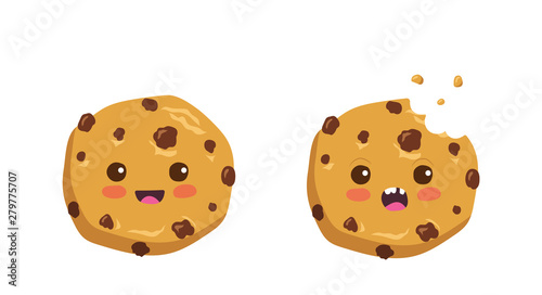 Cuadros en Lienzo Kawaii cartoon chocolate chip cookie character with funny face