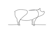 Pig One Line Drawing On White ...
