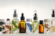 Transparent Bottles Of Essential Oil With Fresh Herbs.