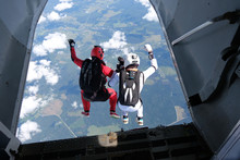 Skydiving. Two Skydivers Are J...