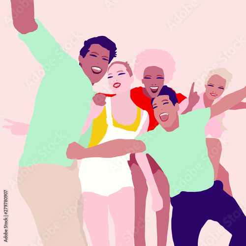 Fototapety, obrazy: Illustration group of young people from different race making selfie and having fun
