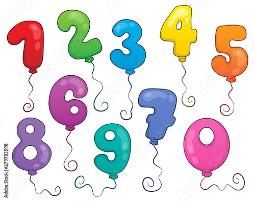 Poster de jardin Enfants Balloon numbers theme set 1