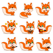 Set Of Funny Squirrel In Different Poses And With Musical Instruments In Cartoon Style Isolated On White Background