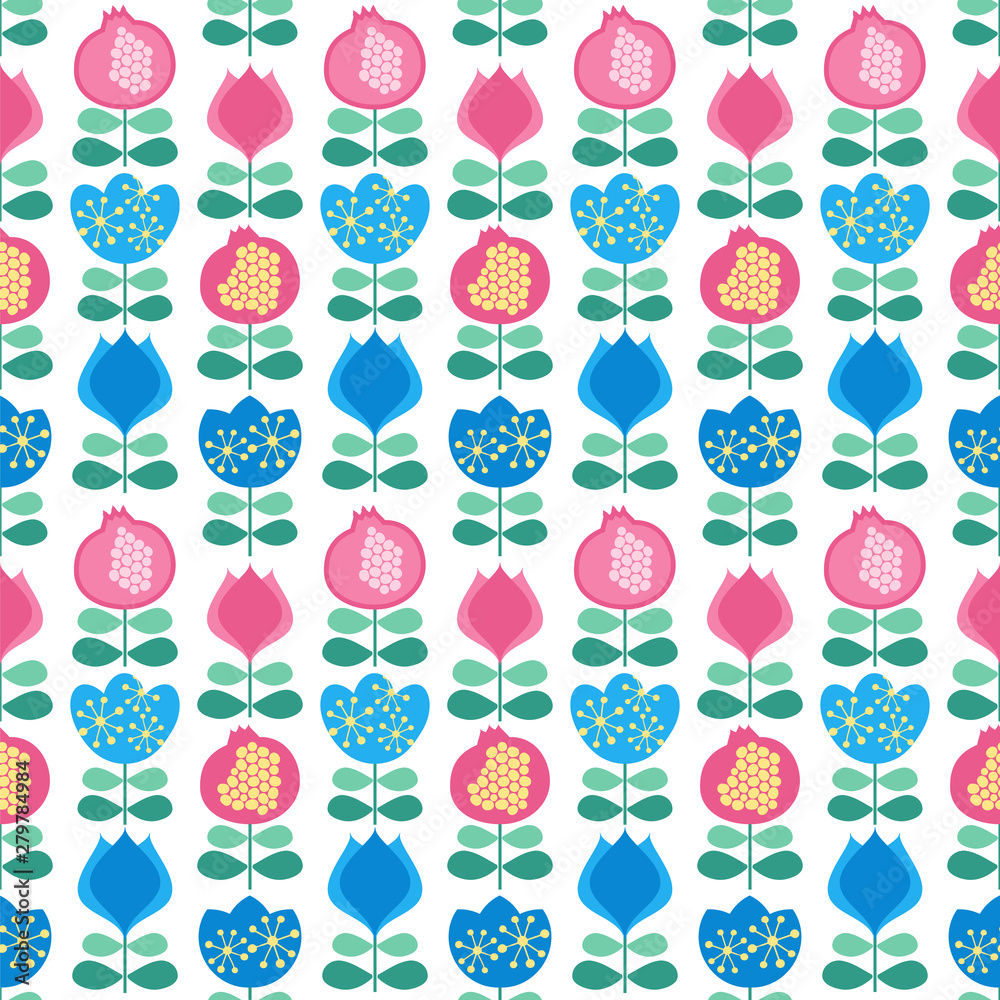 Seamless vector pattern with flowers in scandinavian style.