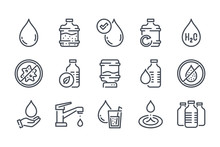 Water Related Line Icon Set. P...