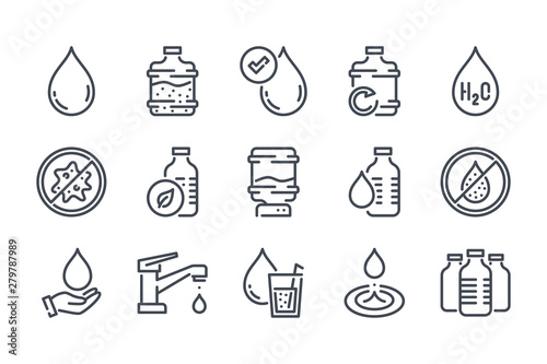 Pinturas sobre lienzo  Water related line icon set