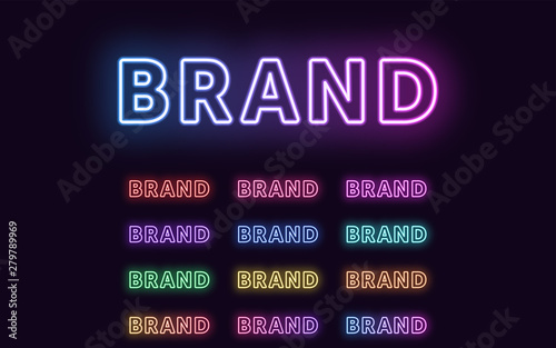 Neon text Brand, expressive Title, word Brand