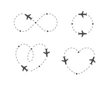 Airplane Dotted Route, Icon Set. Plane Silhouette And Flight Path. Path Direction Loop, Shape Of Heart, Circle, Infinity Symbol. Vector Logo Concept.