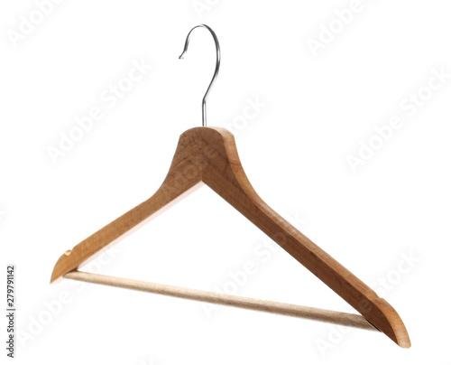 Wooden coat hanger isolated on white background