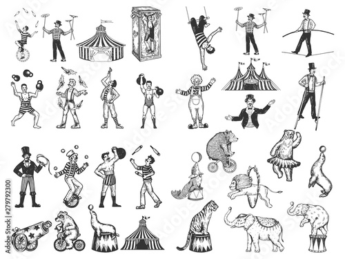 Obraz na plátně Retro circus performance set sketch style vector illustration