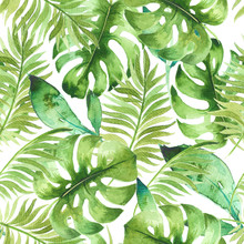 Watercolor Tropical Seamless Pattern With Exotic Leaves. Best For Fabric, Wallpaper, Invitation Cards Design, Print. Hand Painted, Trendy, Fresh Botanical Design
