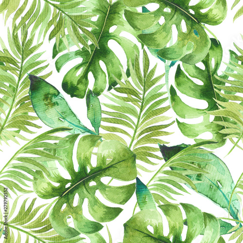 Watercolor tropical seamless pattern with exotic leaves. Best for fabric, wallpaper, invitation cards design, print. Hand painted, trendy, fresh botanical design Wall mural