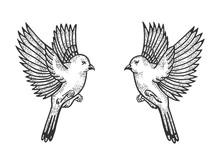 Sparrow Birds Tattoo Sketch En...