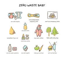 Zero Waste Baby Set Vector Doodle Illustration Isolated On White Background