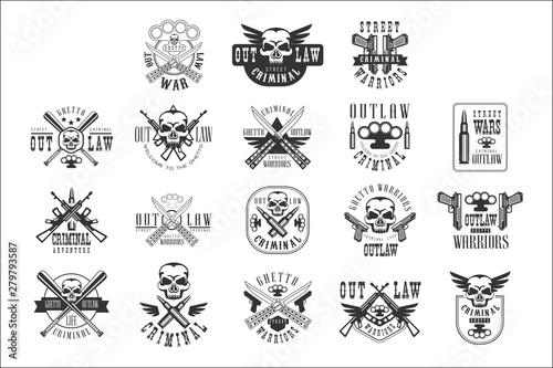 Fotomural  Criminal Outlaw Street Club Black And White Sign Design Templates With Text And