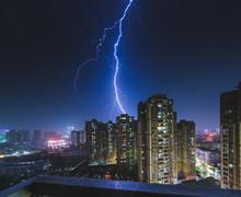 Ligntning Above Foshan City At...