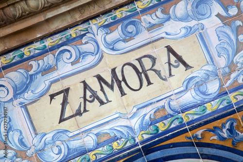 Zamora Sign; Plaza de Espana Square; Seville