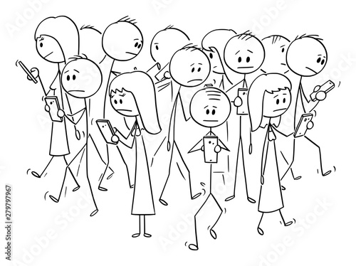 Obraz na płótnie Vector cartoon stick figure drawing conceptual illustration of group of people or pedestrians walking on the street and using mobile phones or cell phones