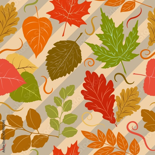Poster de jardin Draw Autumn Leaves Fall Season Vector Seamless Pattern Textile Design