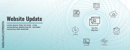 Website Update Icon Set with Web Header Banner Fototapet