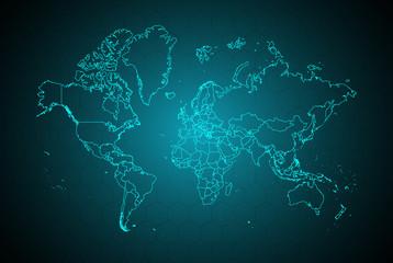 world map digital tech back...