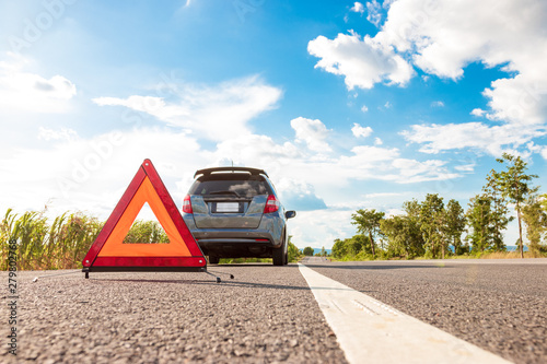 Photo Unexpected event In traveling close to travel, Red warning triangle
