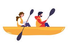 Man And Woman Rowing A Boat