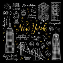 New York Travel Vector Icons And Outline Elements. Illustrations With Architecture And Symbols Of New York