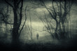 canvas print picture - horror forest landscape, surreal haunted woods with scary silhouette at night