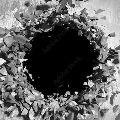 Obraz na plátně  Dark cracked broken hole in concrete wall. Grunge background