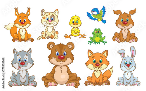 Cadres-photo bureau Chats Portrait of cute forest animals. In cartoon style. Isolated on white background.