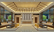 3d render of luxury hotel lobby and reception