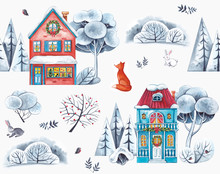 Watercolor Pattern. Houses Decorated For Christmas. Around The Houses Are Snow, Hares, Fox And Forest.
