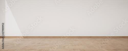 Obraz parquet bois et mur blanc - fototapety do salonu