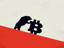 Bitcoin Bearish Market Vector Concept With Bear Pushing Bitcoin Down. Symbol Of Financial Investment In Cryptocurrency, Blockchain Trading. Selling Btc, Value Fall.