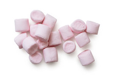 Many Pink Mini Marshmallows Isolated On White From Above.