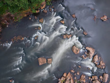 From Above View Of River Rapids, Long Exposure. Aerial Top View Of Stream. Water Flow.