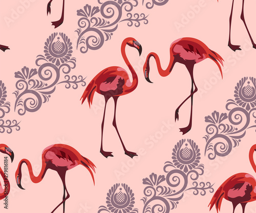 Foto op Plexiglas Flamingo vogel Tropical wildlife, flamingo seamless pattern. Hand Drawn jungle nature, flowers illustration. Print for textile, cloth, wallpaper, scrapbooking