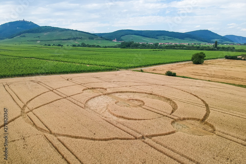 Leinwand Poster crop circles field Alsace France
