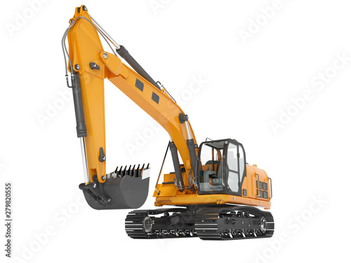 Carta da parati Orange single bucket excavator with hydraulic mechpatoy on metal driven track 3D